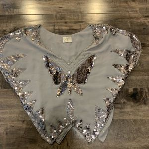 Free people butterfly sequence shirt